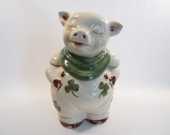 Vintage Shawnee Smiley the Pig Cookie Jar Shamrocks Kitchen Collectible