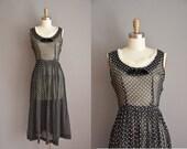 r e s e r v e d...vintage 1950s dress / black cotton polka dot dress / 50s full skirt dress