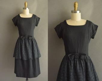 vintage 1950s dress / 50s black cotton lace vintage dress