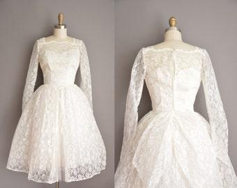 vintage 1950s dress / white tea length lace wedding dress / 50s wedding dress