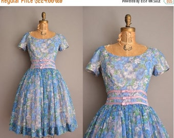 Anniversary SHOP SALE... 50s Gigi Young floral chiffon full skirt vintage dress / vintage 1950s dress