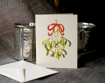 Mistletoe Holiday Cards - A blank notecard to send good wishes - art card watercolor christmas