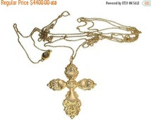 30% Off Sale Gold Cross on Long Gold Chain Antique Jewelry c.1840
