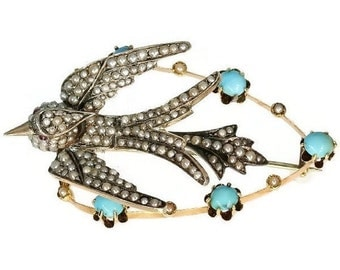 30% Off Sale Victorian Swallow Bird Turquoise Pearls Brooch ref.09306-4333