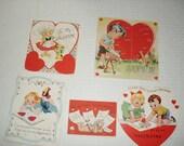 13)  Four Used Vintage Valentine Cards