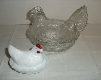 Large Hen on Nest and a Small Milk Glass Hen on Nest