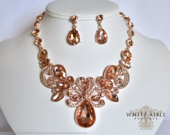 Rose Gold Bridal Jewelry Set, Statement Necklace, Wedding Jewelry Set, Vintage Inspired Necklace, Rhinestone Necklace, Bridal Necklace