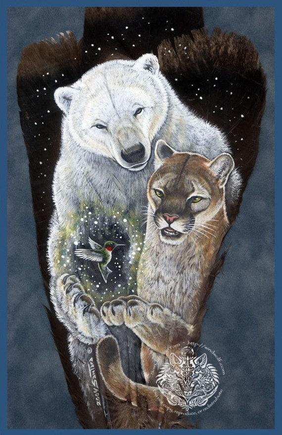 Polar Bear Cougar Humming Bird Feather Print