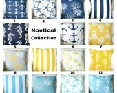 Nautical Pillow Covers, Decorative Throw Pillows, Cotton Cushions, Yellow Navy Coastal Blue White, Beach Cottage One or More ALL SIZES