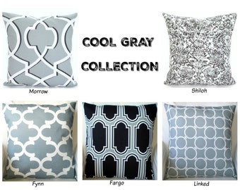 Gray Black Pillow Covers, Decorative Throw Pillows, Cushion Covers, Cool Grey Black White Euro Sham  - One or More Mix & Match ALL SIZES