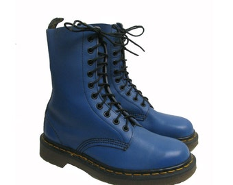 Vintage Doc Martens Boots Womens Blue Leather 10 Eyelet Dr Martens Riot Grrrl Combat Boots Made In England Fits Wms US Size 7