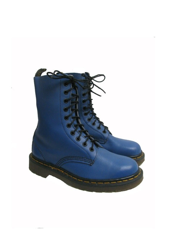 vintage doc martens boots womens blue leather 10 eyelet dr