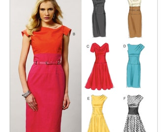 Sz 14/16/18/20/22 - Vogue Dress Pattern V8872 - Misses' Cowl-Neck or Pleated Shoulder Dress in Six Variations - Vogue Easy Options Pattern