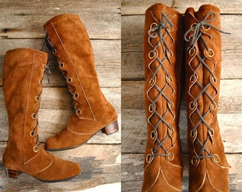 Bohemian Boots Sz 8.5   //  Tall Lace Up Boots Sz 8 1/2 wom  //  THE JOPLIN