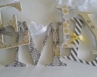 Wood Letters, Yellow and Grey, Baby Girl, Wooden Word Art for Nursery Decor, Damask, Chevron, Stripe, Dot