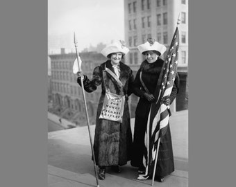 Vintage Photo of Suffragettes ~ Antique print of women in New York City ~ Digital download print of women suffragettes