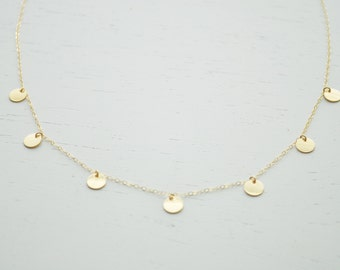 Gold Disc Necklace - multi gold filled dots small circle round disc handmade layering jewelry simple everyday or wedding jewelry
