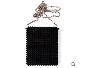 Black hip clutch on a chain made entirely with LEGO® bricks FREE SHIPPING crossbody purse handbag lego gift