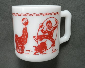 Vintage Hazel Atlas Milk Glass Childs Mug with Red Circus Motif