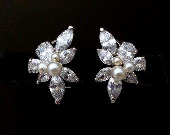 wedding bridal jewelry gift prom party christmas pageant marquise multi stone cubic zirconia and pearl cluster rhodium post stud earrings