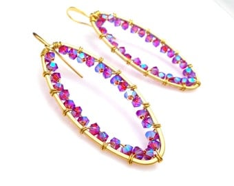bridal bridesmaid party wedding gift Swarovski fuchsia hot pink red AB crystal bead wire wrapped oval frame with gold plated hook earrings