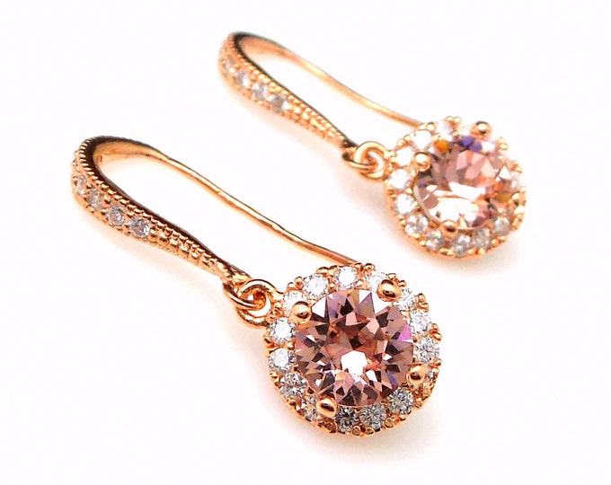 bridesmaid bridal party gift prom jewelry wedding cubic zirconia deco swarovski round halo vintage rose rhinestone rose gold hook earrings
