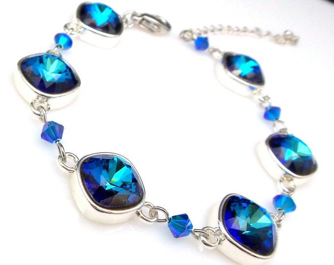 Wedding jewelry bridesmaid party gift bridal silver bracelet prom pageant swarovski bermuda blue ocean square cushion cut fancy rhinestone