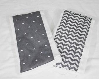 Dark Grey Chevron and Triangles Burp Cloths - Set of 2