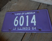 Vintage License Plate Illinois 1962 Purple and White Metal Rustic Patina Decor Auto Collectible Mancave Garage Cafe Bar Decor AMarigoldLife