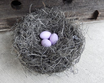 Rustic Bird Nest Handmade with Lilac Eggs Farmhouse Decor AMarigoldLife
