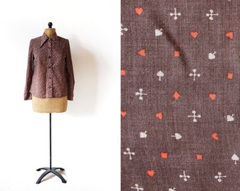vintage blouse 60's shirt playing card novelty print brown mod retro brown 1960's women's clothing size medium m