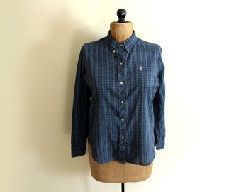 SALE vintage shirt plaid blouse 80s blue button down embroidered duck 1980s womens clothing size s m small medium