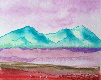 """Three Sisters Original Watercolor Gouache Acrylic Contemporary Abstract Painting 10""""x11"""""""
