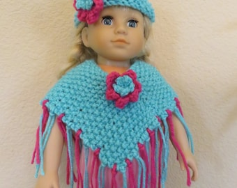 American Girl 18 Inch Doll Teal and Pink Poncho and headband set