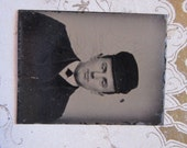 antique miniature tintype photo - gemtype - man in hat - late 1800s photo - gte75