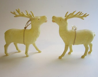 2 vintage celluloid deer - made in JAPAN - celluloid reindeer- 3.75 inches tall