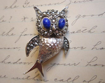 vintage OWL brooch - signed PELL owl brooch - blue eyes, faceted silvered rhinestone face