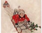 Away We Go - Antique Postcard - Christmas Postcards, Christmas Cards, Children, Sleds, Sledding, Winter, Snow, Holly, Paper, Ephemera