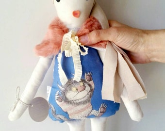 Where The Wild Things Are. Handmade Heirloom Blonde Cloth Doll with faux fur shrug. Removable. Soft doll, eco toy, softie, plush doll.