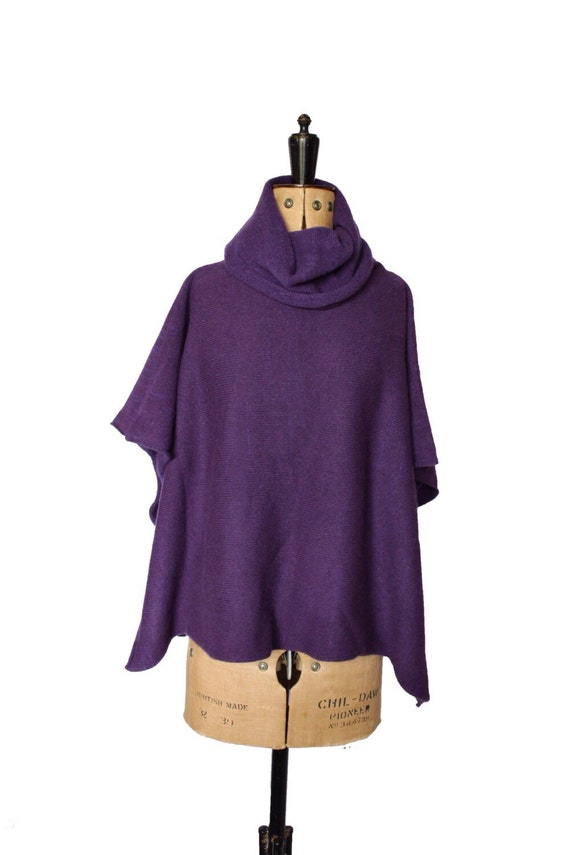 Knitted poncho roll neck wrap knitted wrap cowl neck poncho long