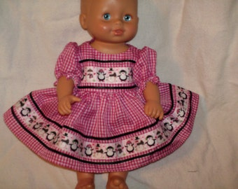 """American Made 10"""" 12"""" to 14"""" Smaller Red Check N Snowman N Penguin Print ribbon Girl Baby Doll Dress with panties Fits smaller Baby Dolls"""