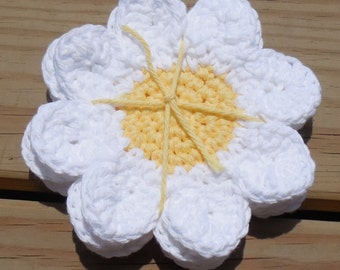 Daisy Drink Coasters, Crochet Cotton Coasters