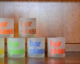vintage 1970s helvetica type morgan bar cocktail glasses