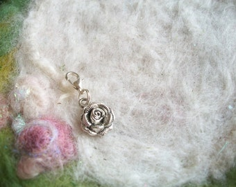 Cell Phone Clip Zipper Pull Backpack Clip Silver Rose Hook Fairy Party Favors Small Gift Door Prize