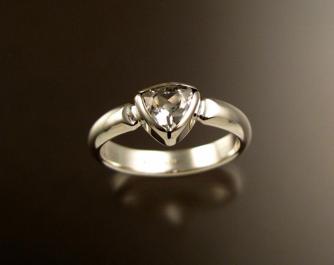 White Topaz Triangle ring set in Sterling Silver Diamond substitute ring