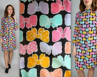 Vintage 1970's 1980s bow ribbon rainbow pastels novelty print dress L Large M Medium