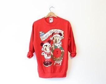 Vintage Red Walt Disney World Mickey Minnie Holiday Christmas Sweatshirt