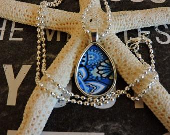 Teardrop Necklace, Teardrop Pendant, Paisley Pendant, Paisley Necklace, Antique Silver, Decoupage, Bezel Setting