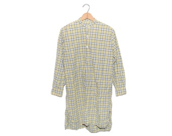 Vintage European Yellow Plaid 100% Cotton 3/4 Length Button Up Grandpa Shirt - Medium (os-bds-3)