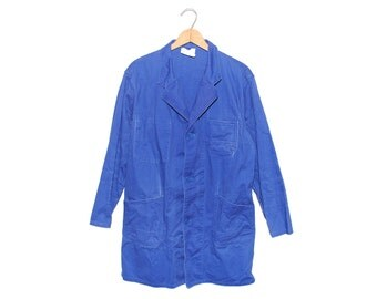 Vintage European Cobalt Blue Cotton Button Up Three Pocket Lightweight Shop Chore Coat - Medium